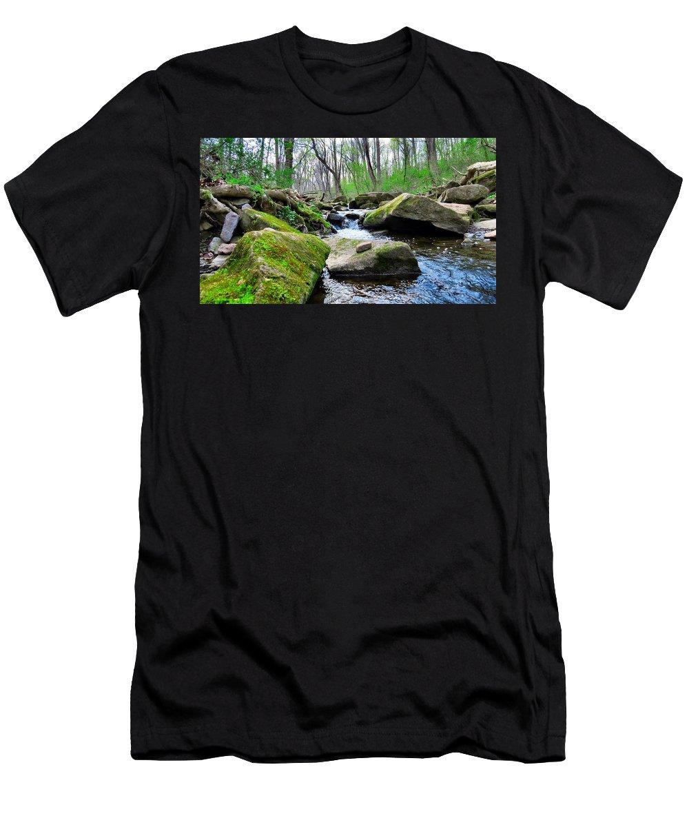 Elder Men's T-Shirt (Athletic Fit) featuring the photograph Earthen Falls by Art Dingo