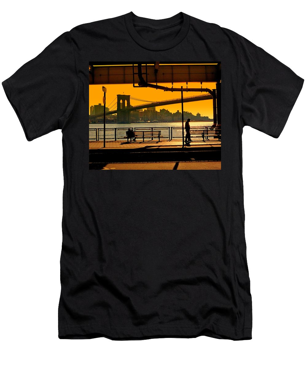 East Men's T-Shirt (Athletic Fit) featuring the photograph East River Sunset by Valentino Visentini