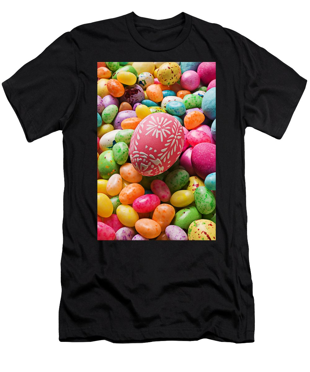 Easter Men's T-Shirt (Athletic Fit) featuring the photograph Easter Egg And Jellybeans by Garry Gay
