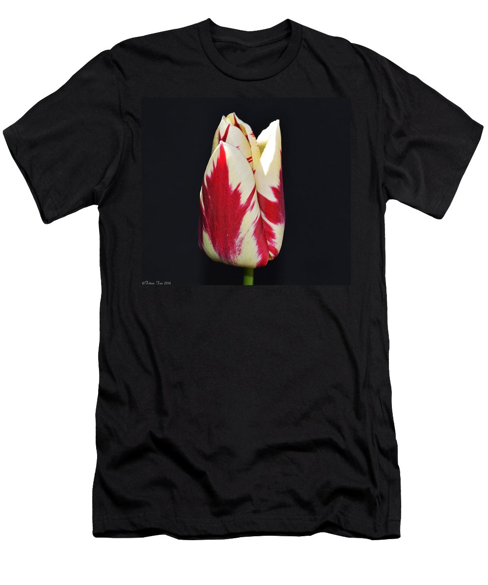 Petal Men's T-Shirt (Athletic Fit) featuring the photograph Easter Greetings - Twinkle Tulip by Felicia Tica