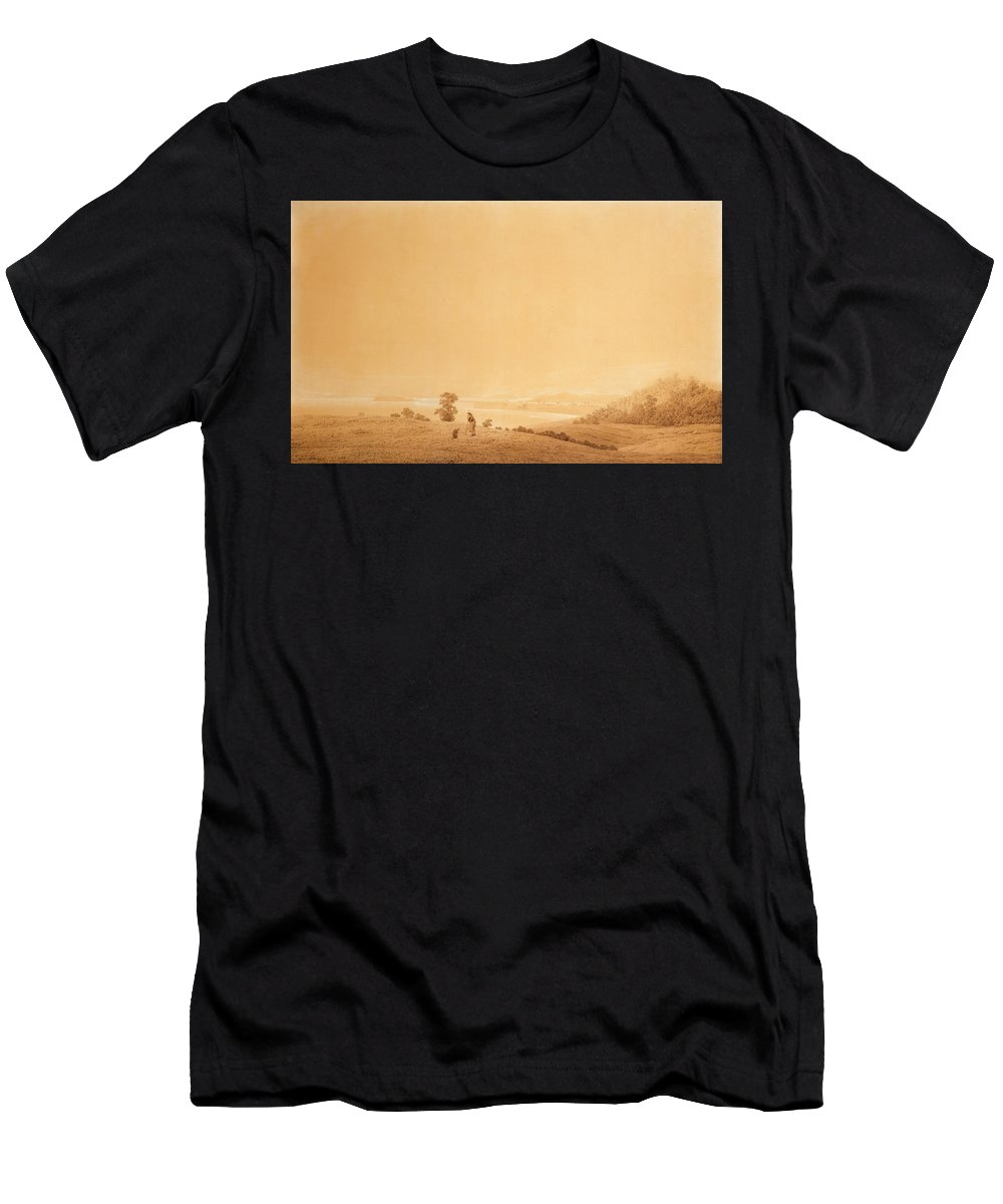 Caspar David Friedrich Men's T-Shirt (Athletic Fit) featuring the drawing Eastern Coast Of Ruegen Island With Shepherd by Caspar David Friedrich