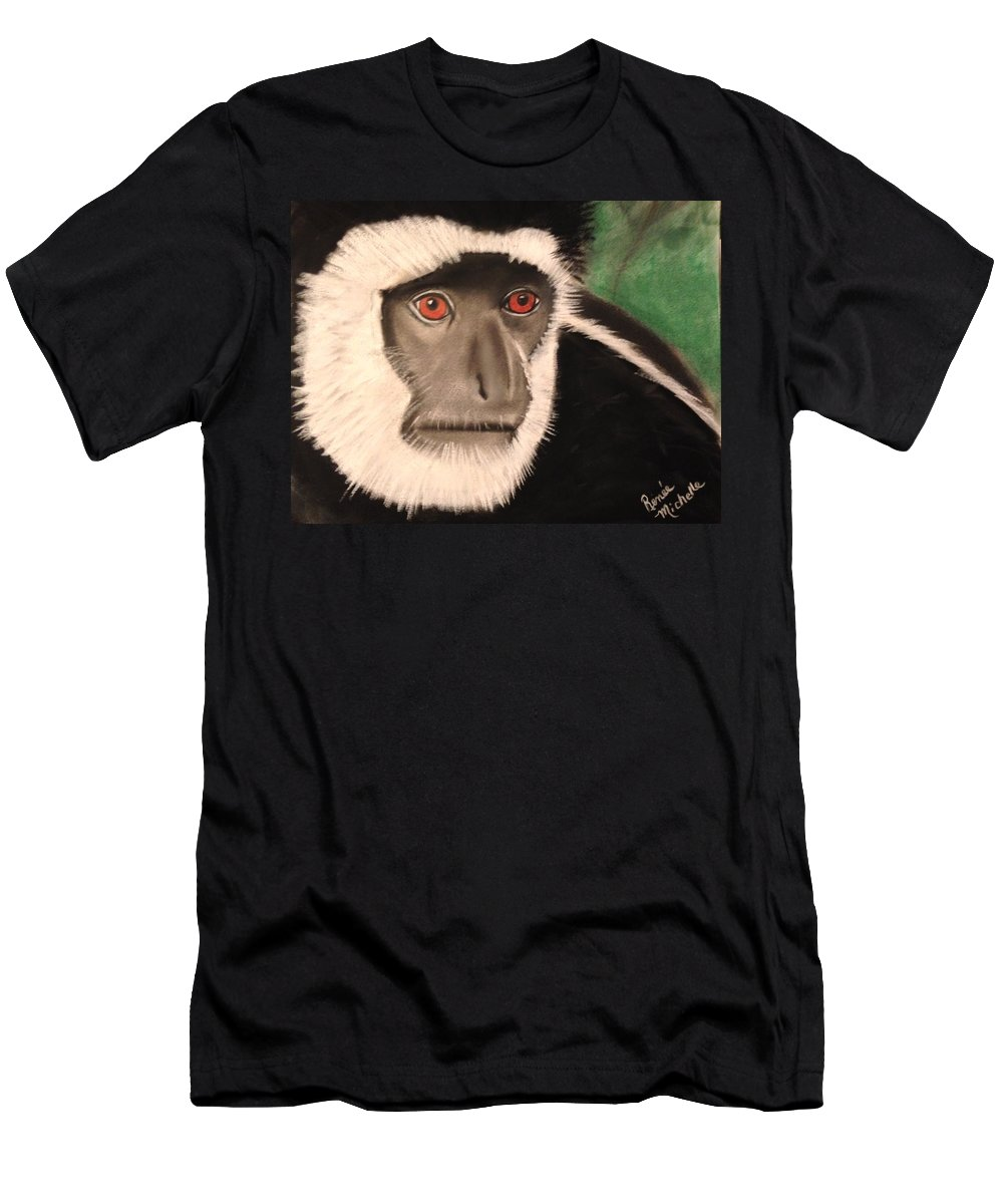 Monkey Men's T-Shirt (Athletic Fit) featuring the pastel Eastern Colobus Monkey by Renee Michelle Wenker