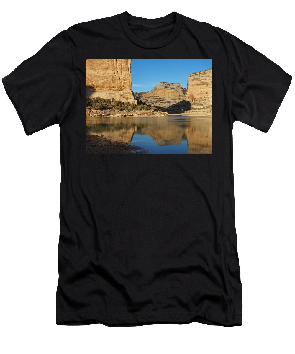 Water Reflections Men's T-Shirt (Athletic Fit) featuring the photograph Echo Park In Dinosaur National Monument by Nadja Rider