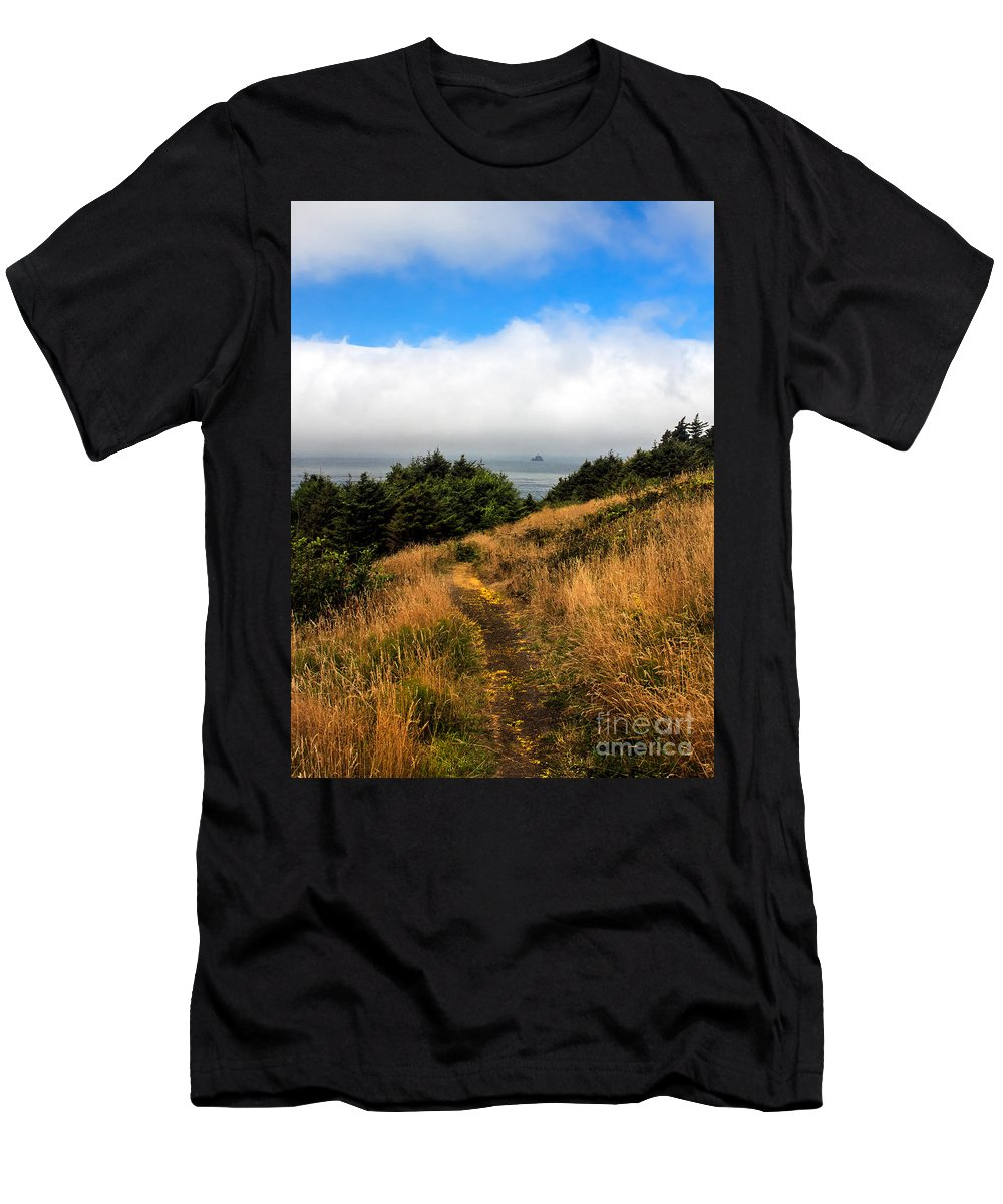 Oregon Coast. Seascape Men's T-Shirt (Athletic Fit) featuring the photograph Ecola Trails by Robert Bales