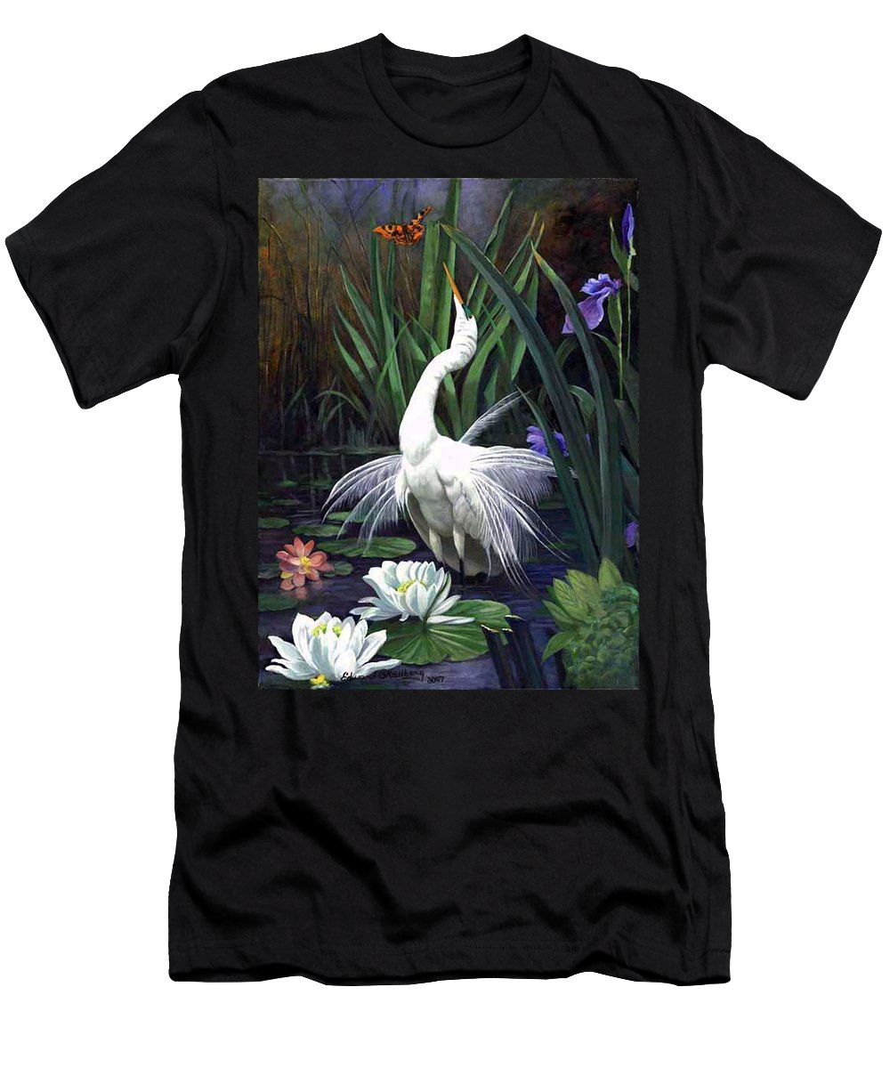 Landscape Men's T-Shirt (Athletic Fit) featuring the painting Egret And The Butterfly by Edward Skallberg