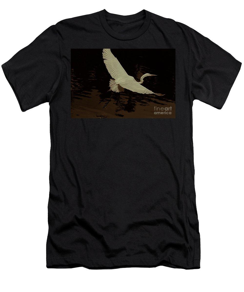 Egret Men's T-Shirt (Athletic Fit) featuring the photograph Egret Fractalius by Deborah Benoit