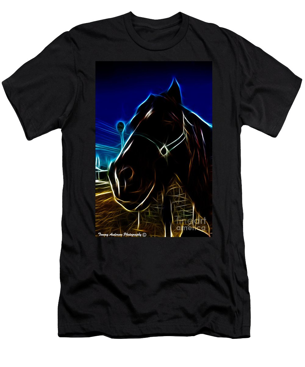 Neon Horse Men's T-Shirt (Athletic Fit) featuring the photograph Electric Horse by Tommy Anderson