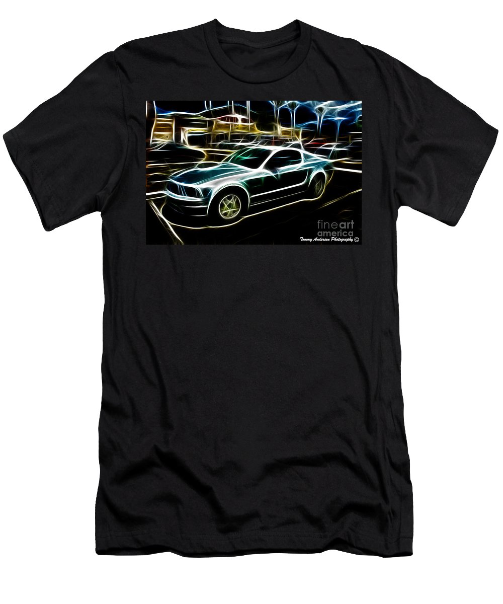 Neon Art Men's T-Shirt (Athletic Fit) featuring the photograph Electric Mustang by Tommy Anderson