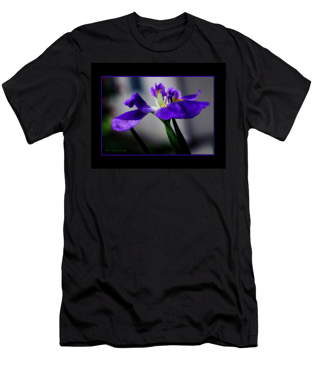 Iris T-Shirt featuring the photograph Elegant Iris with Black Border by Lucy VanSwearingen