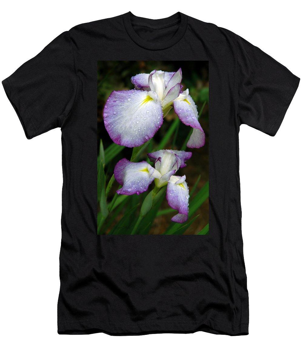 Iris Men's T-Shirt (Athletic Fit) featuring the photograph Elegant Purple Iris by Marie Hicks