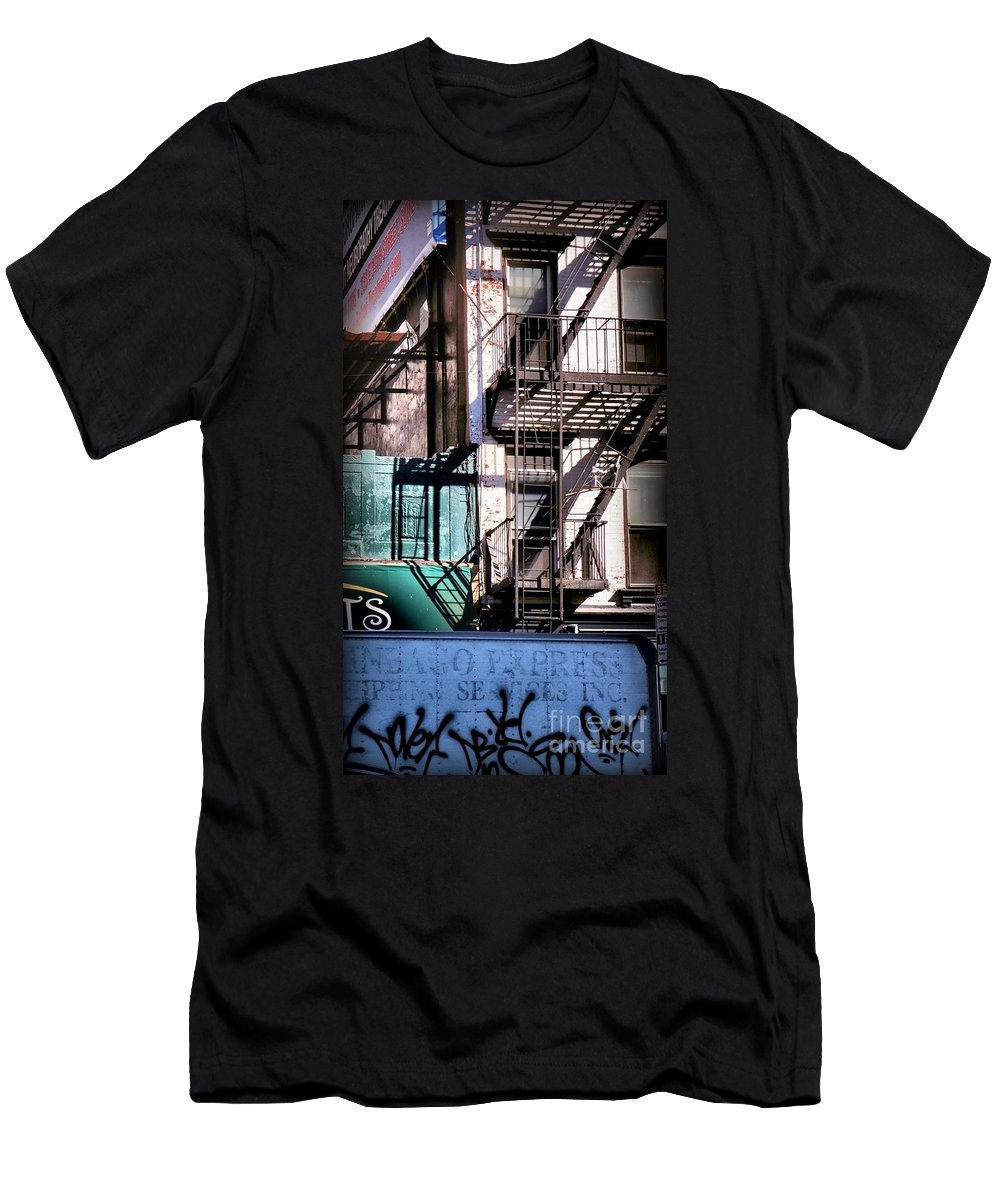 Fire Escapes Men's T-Shirt (Athletic Fit) featuring the photograph Elemental City - Fire Escape Graffiti Brownstone by Miriam Danar