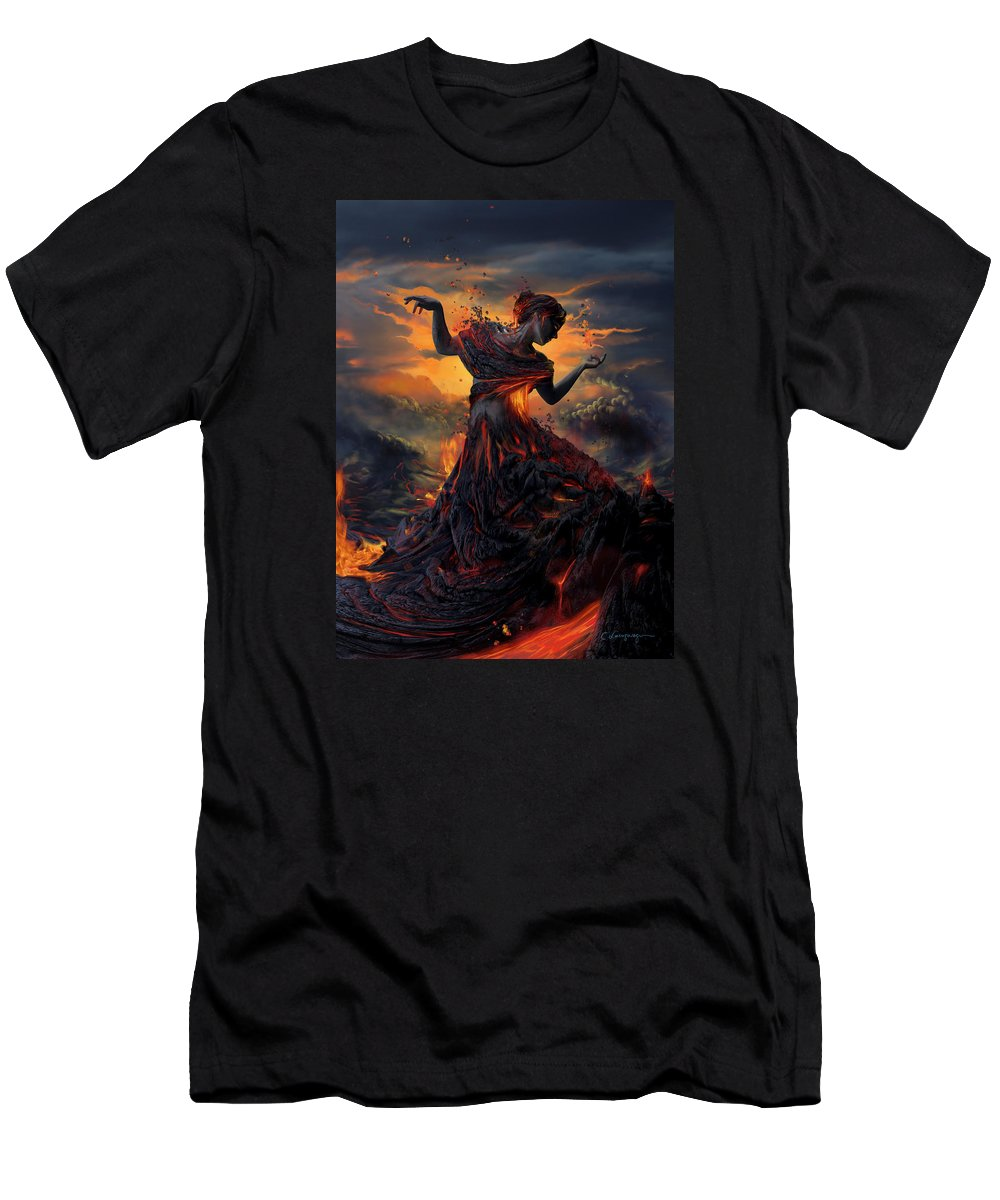 Fire Men's T-Shirt (Athletic Fit) featuring the digital art Elements - Fire by Cassiopeia Art