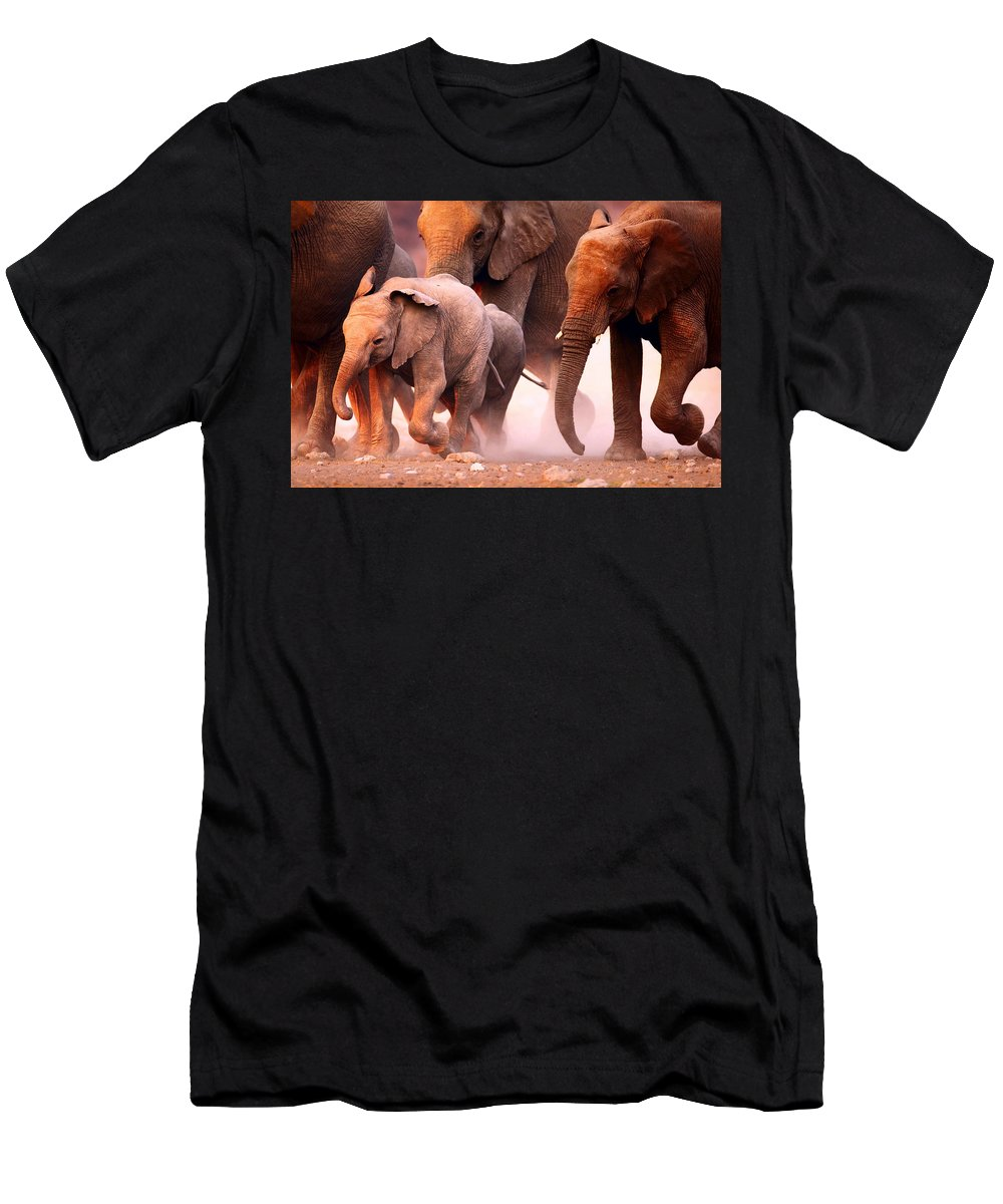 Wild Men's T-Shirt (Athletic Fit) featuring the photograph Elephants Stampede by Johan Swanepoel