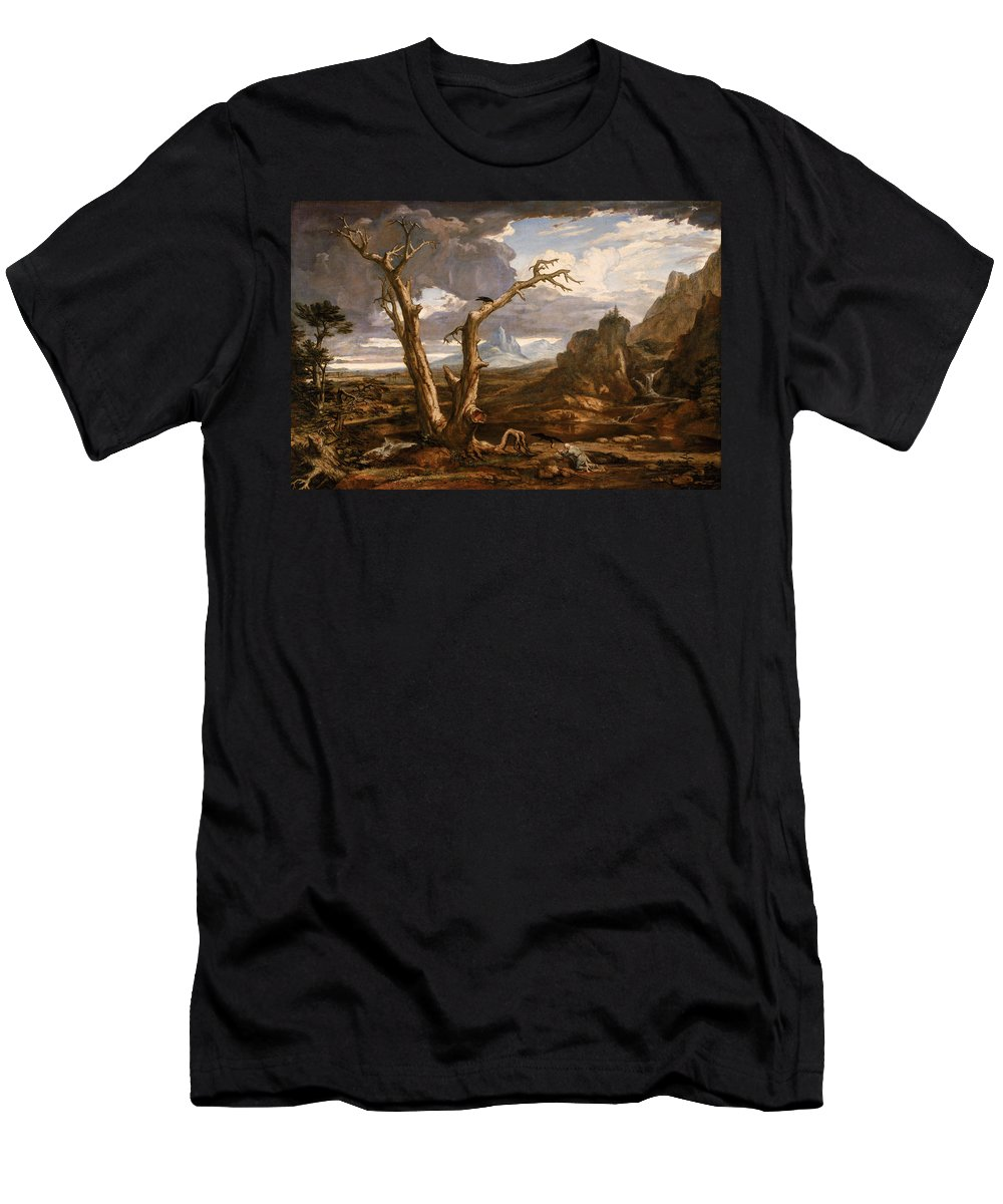 Washington Allston Men's T-Shirt (Athletic Fit) featuring the painting Elijah In The Desert by Washington Allston
