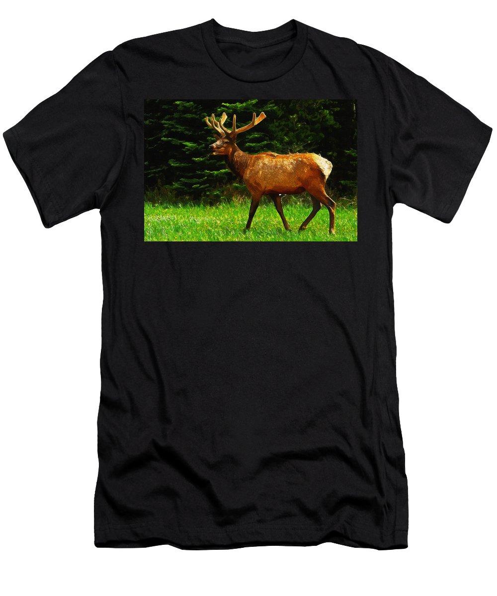 Elk Men's T-Shirt (Athletic Fit) featuring the painting Elk Portrait by Inspirowl Design