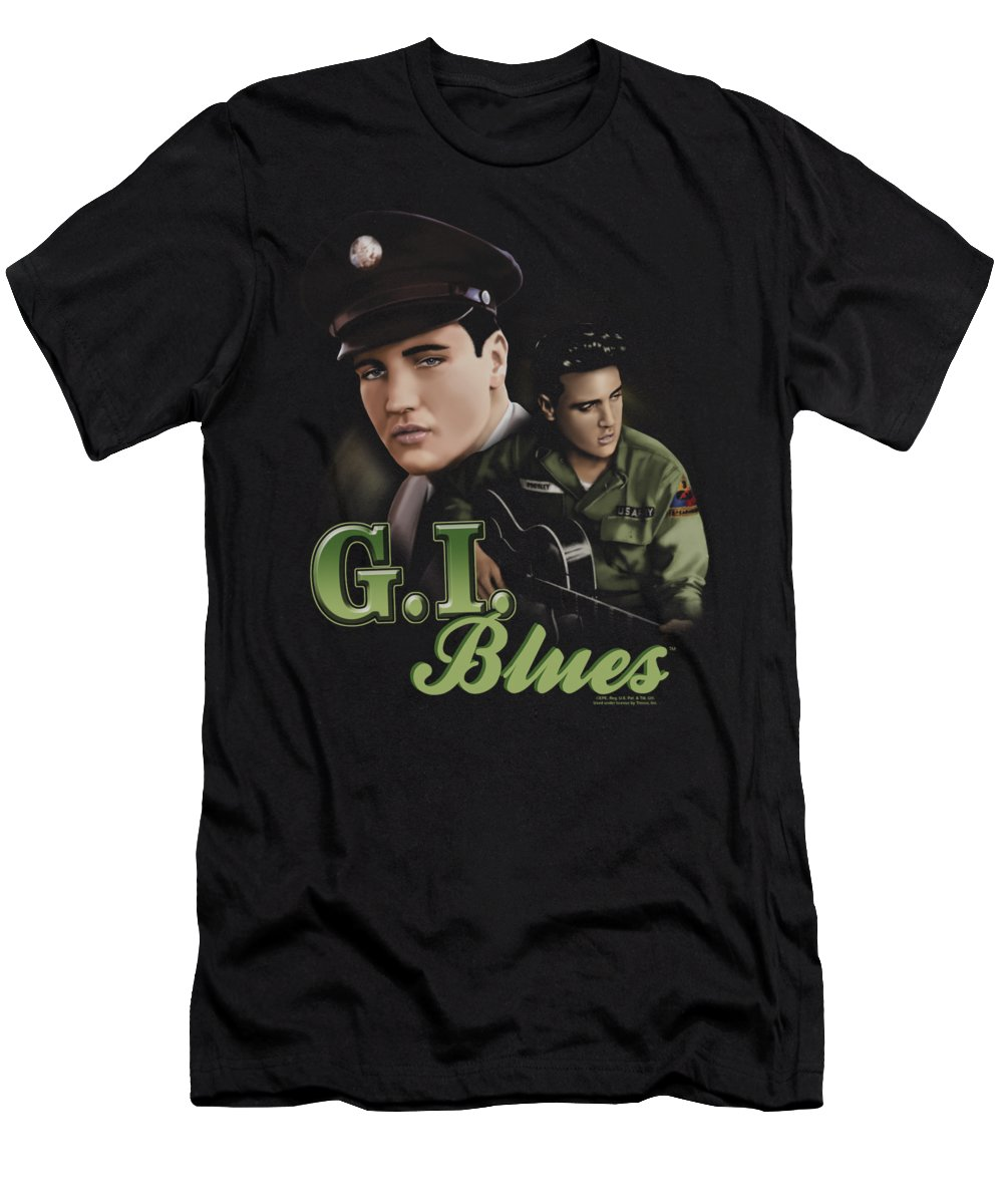 Elvis T-Shirt featuring the digital art Elvis - G I Blues by Brand A