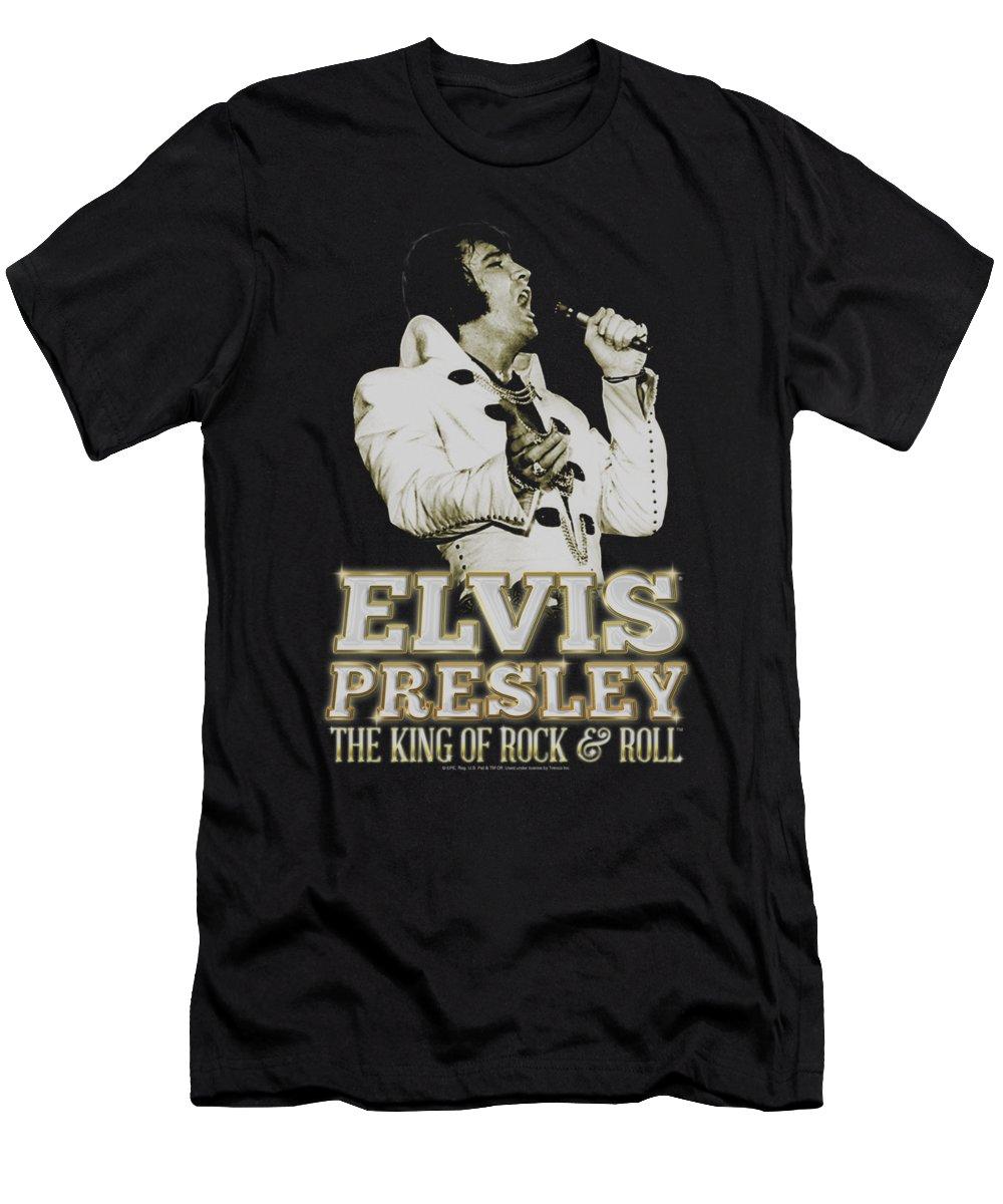 Elvis T-Shirt featuring the digital art Elvis - Golden by Brand A