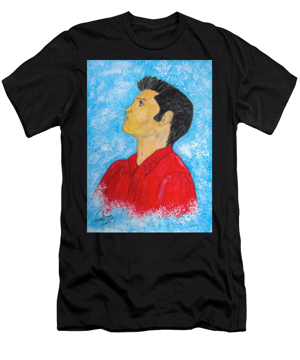 Elvis Presely Men's T-Shirt (Athletic Fit) featuring the painting Elvis Presley Singing by Kathy Marrs Chandler