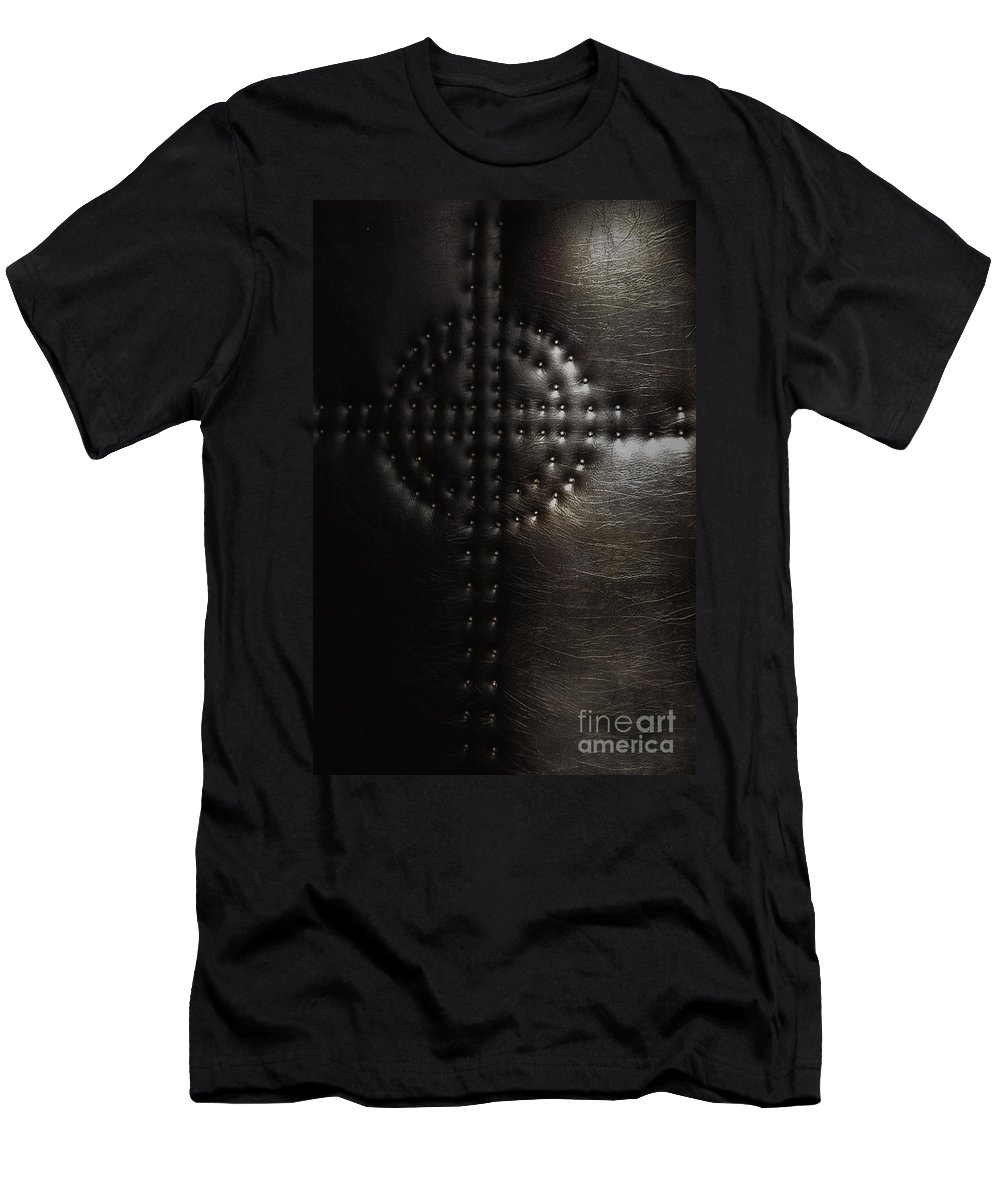 Religious; Religion; Cross; Leather; Nails; Tacks; Shape; Design; Shadow; Texture; Catholic; Christian; Embedded Men's T-Shirt (Athletic Fit) featuring the photograph Embedded by Margie Hurwich