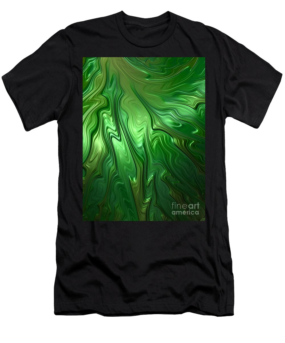 Green Men's T-Shirt (Athletic Fit) featuring the digital art Emerald Flow by John Edwards