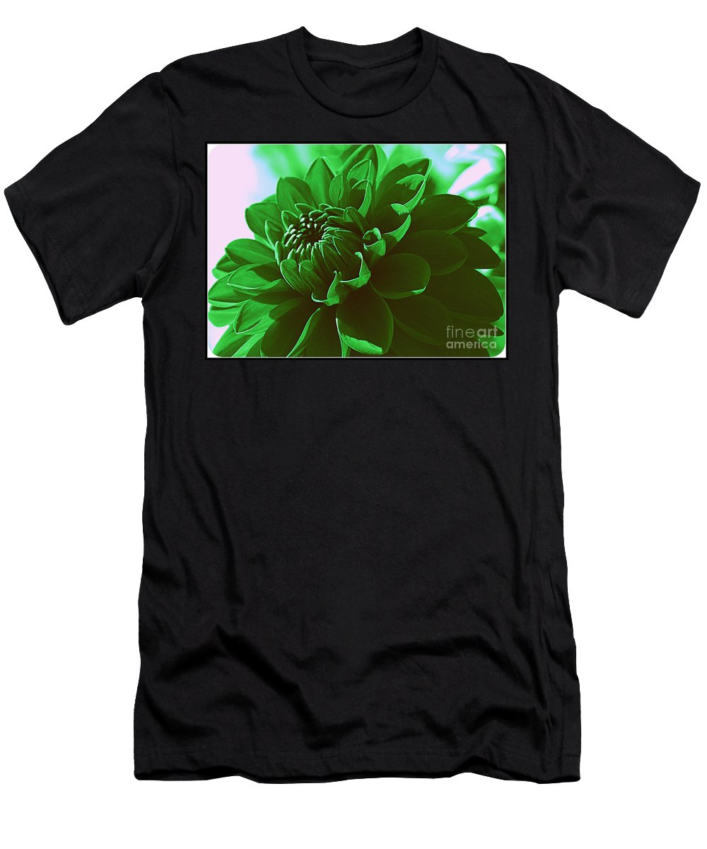 Dahlia Men's T-Shirt (Athletic Fit) featuring the photograph Emerald Green Beauty by Dora Sofia Caputo Photographic Design and Fine Art