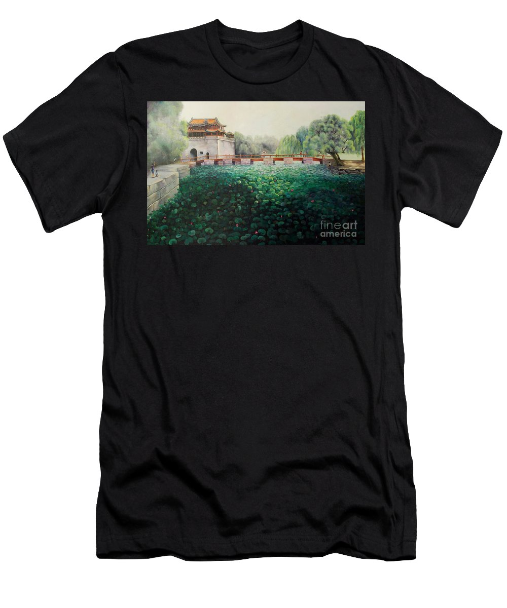 Landscape Men's T-Shirt (Athletic Fit) featuring the painting Emperor's Summer Palace by Marlene Book