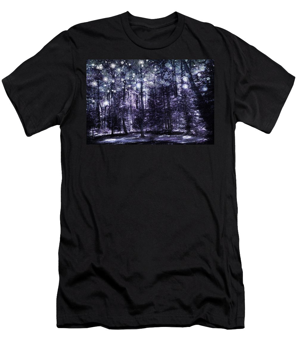 Evie Men's T-Shirt (Athletic Fit) featuring the photograph Enchanted Plum Forest by Evie Carrier