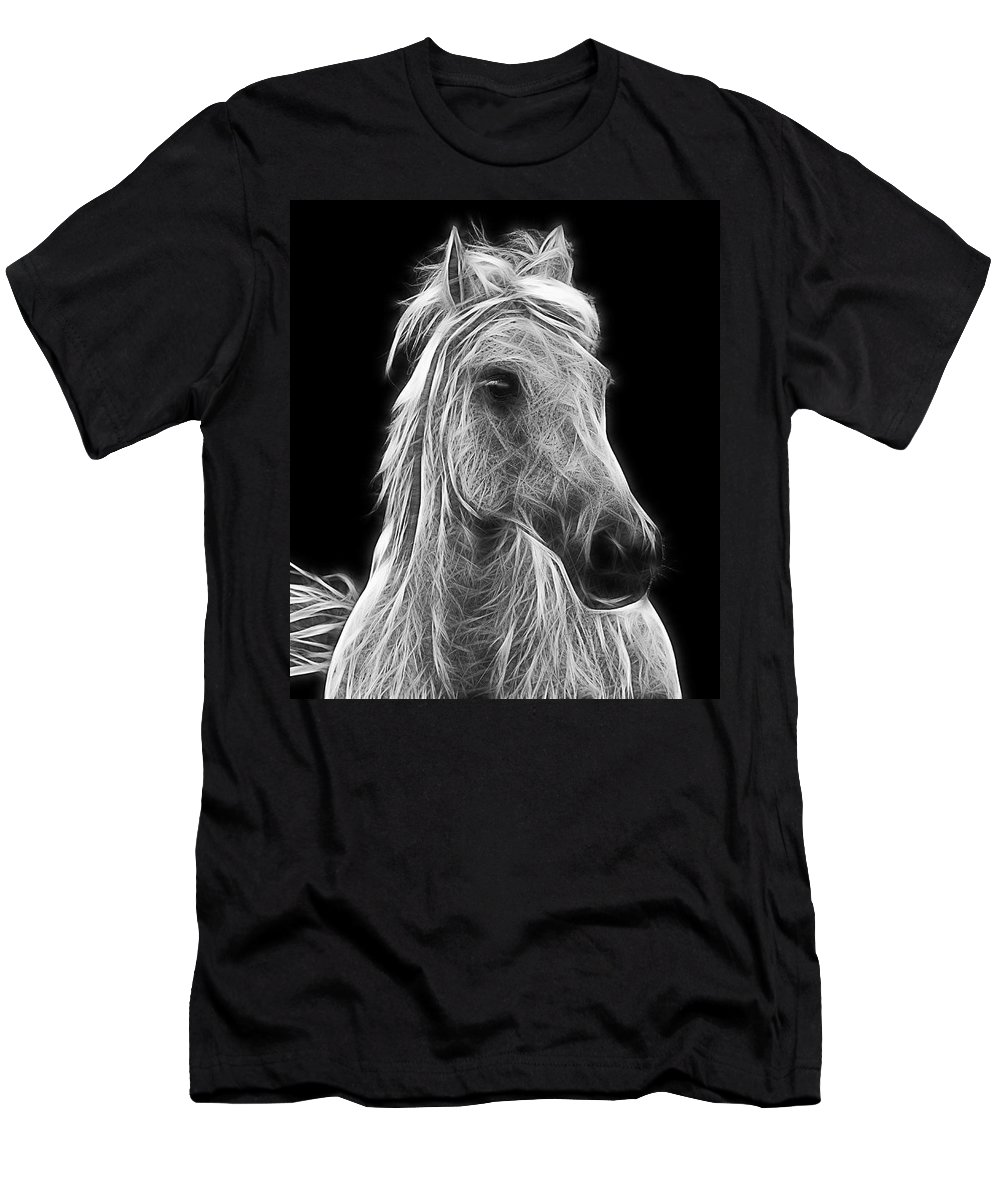 Horse Men's T-Shirt (Athletic Fit) featuring the photograph Energetic White Horse by Joachim G Pinkawa