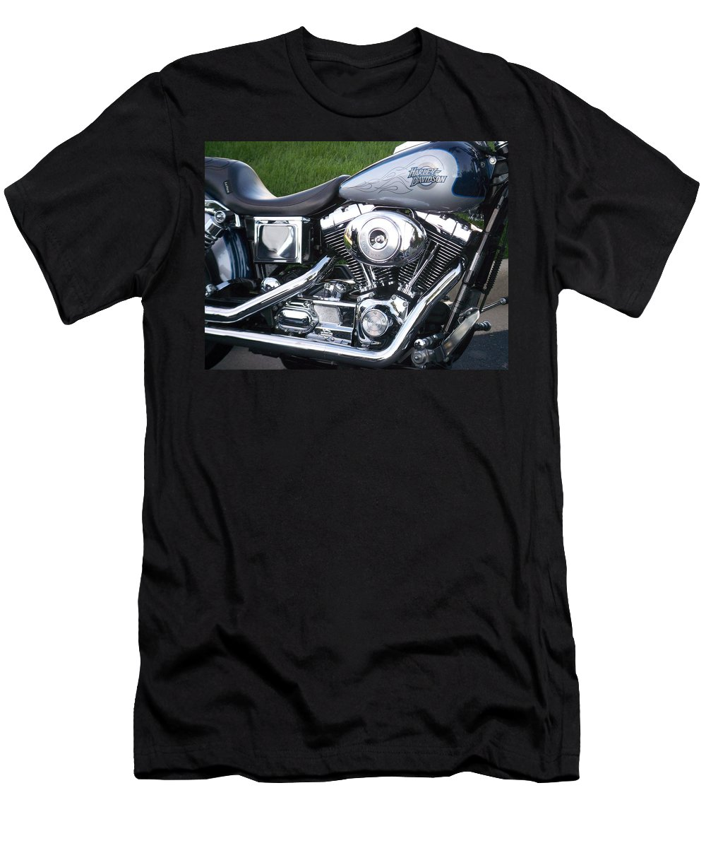 Motorcycles Men's T-Shirt (Athletic Fit) featuring the photograph Engine Close-up 5 by Anita Burgermeister