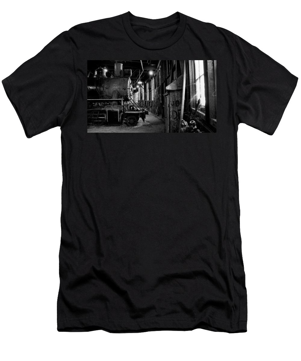B&w Men's T-Shirt (Athletic Fit) featuring the photograph Engine Number 34 by David Beebe