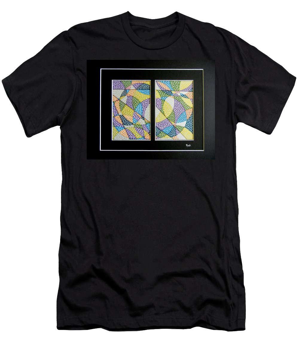 Abstract Men's T-Shirt (Athletic Fit) featuring the painting Puzzle by Kruti Shah