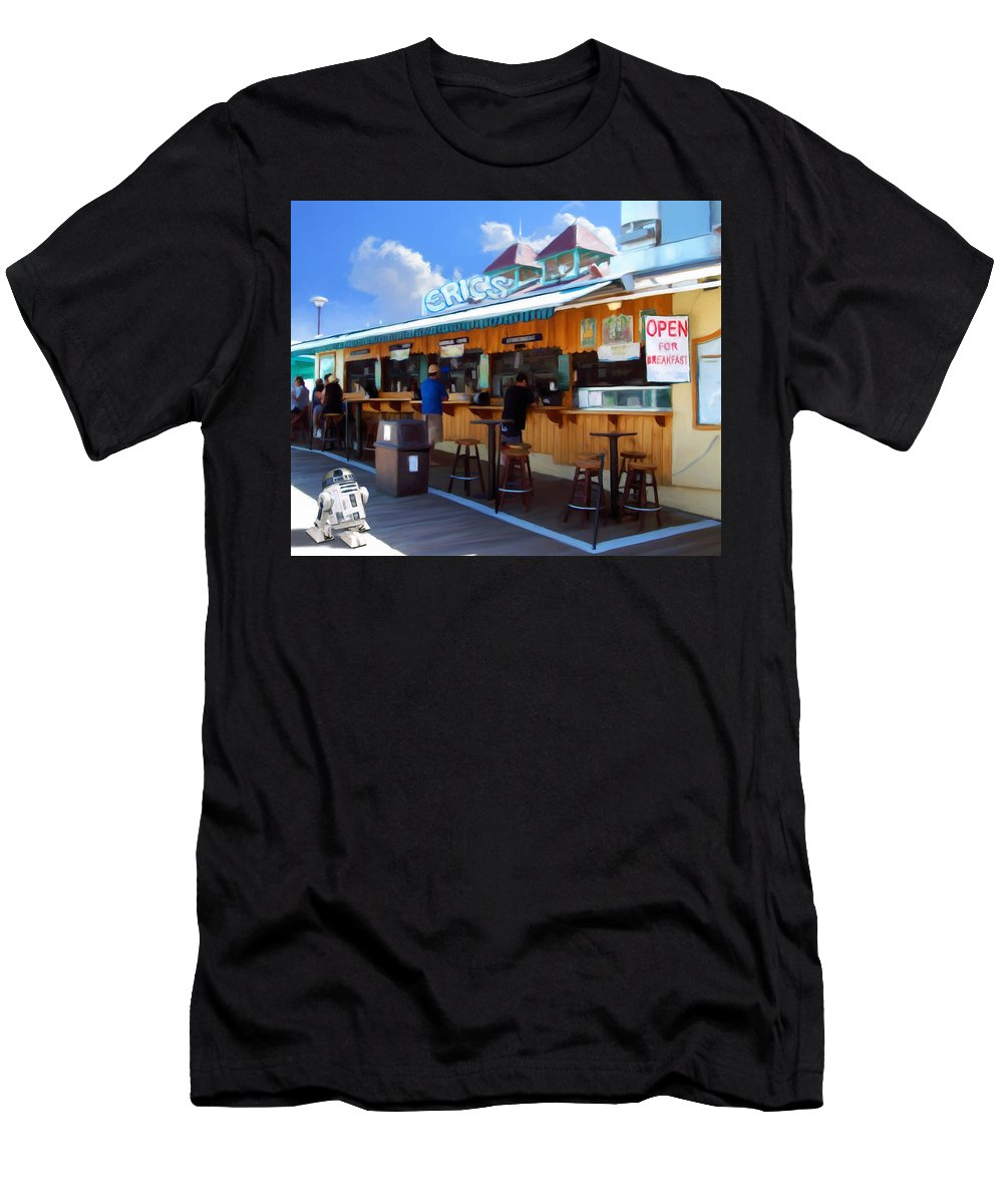 Avalon Men's T-Shirt (Athletic Fit) featuring the painting Erics On The Pier by Snake Jagger