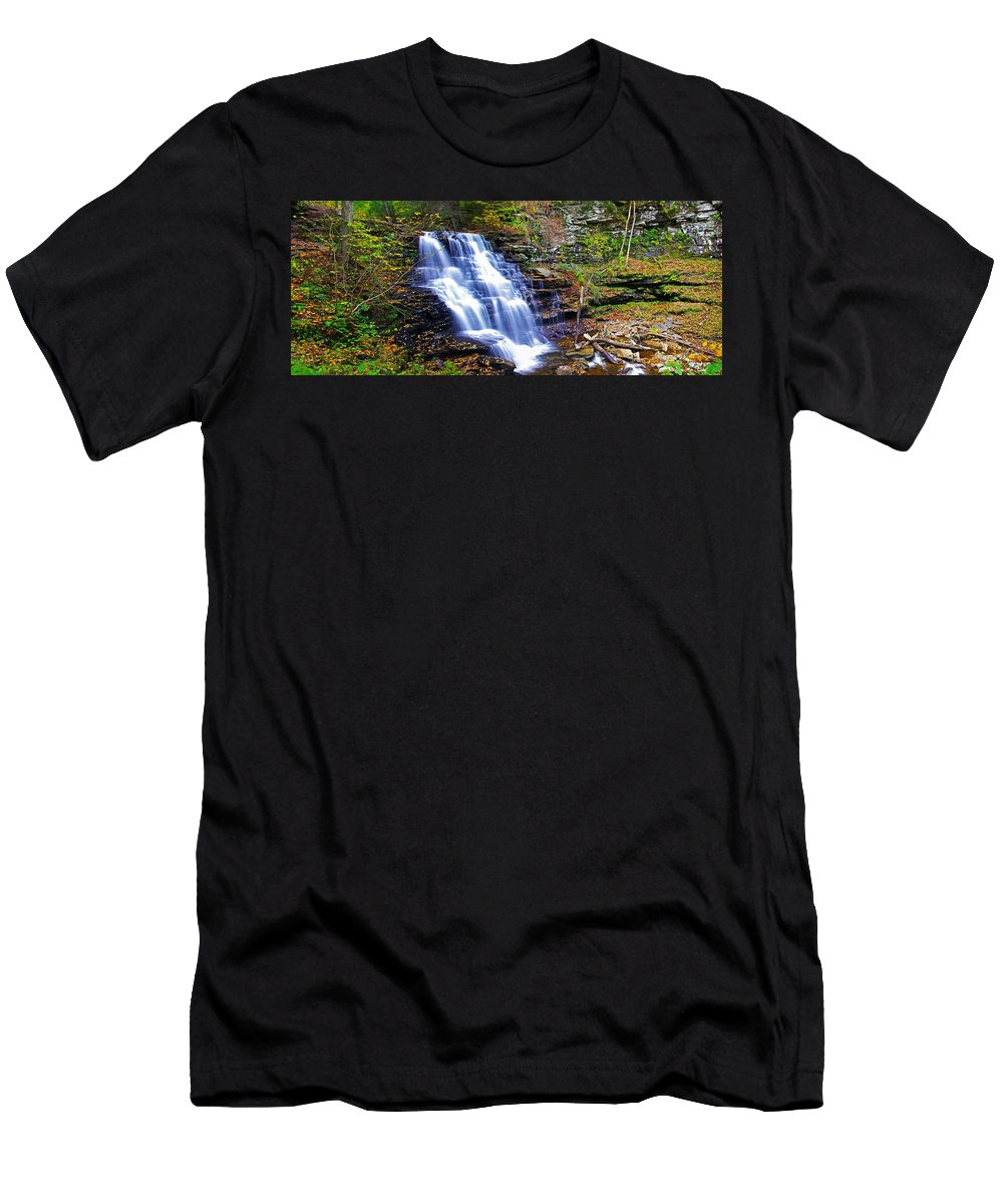 Pa Men's T-Shirt (Athletic Fit) featuring the photograph Erie Falls Panorama by Rich Walter