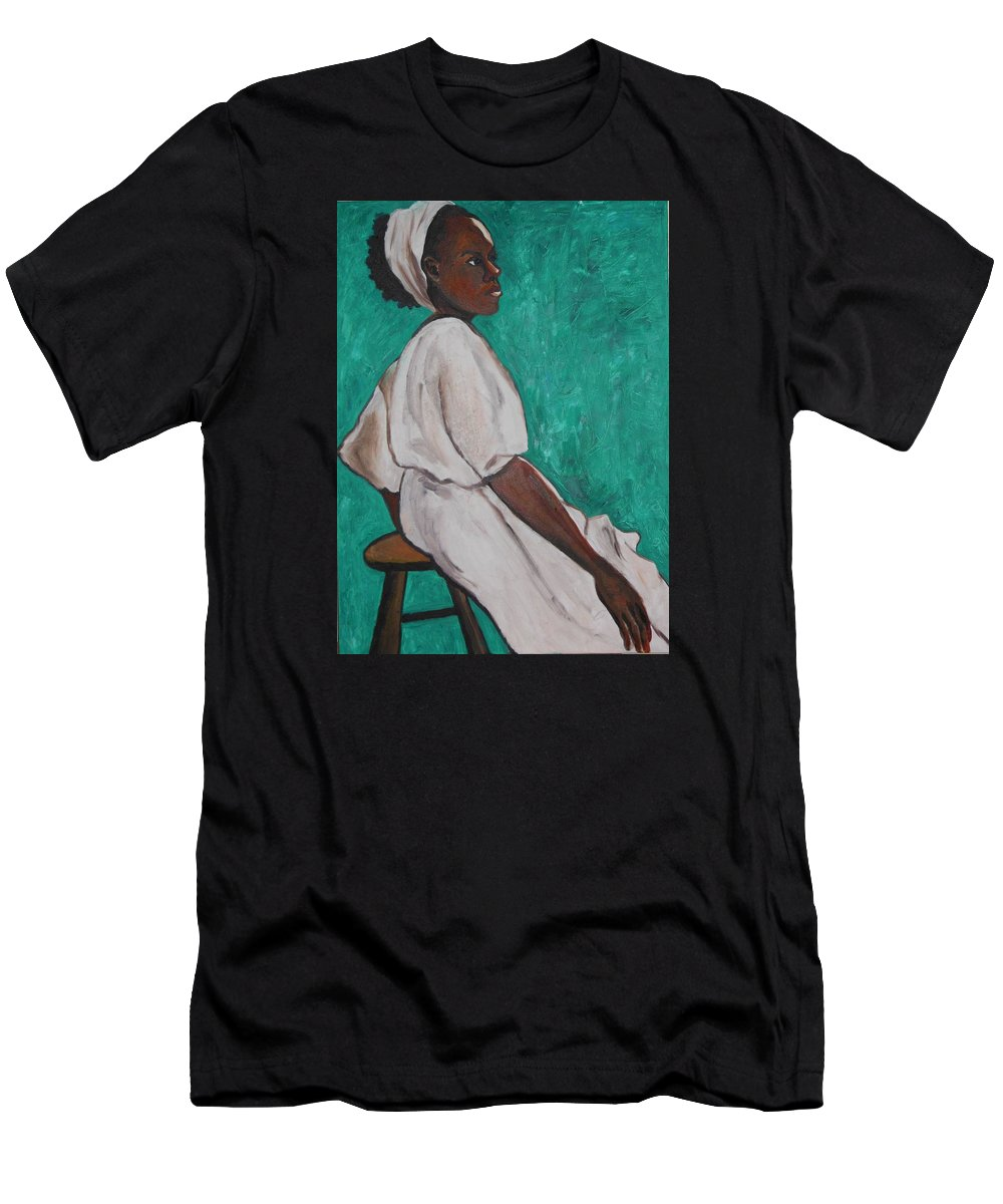 Ethiopian Woman In Green Men's T-Shirt (Athletic Fit) featuring the painting Ethiopian Woman In Green by Esther Newman-Cohen