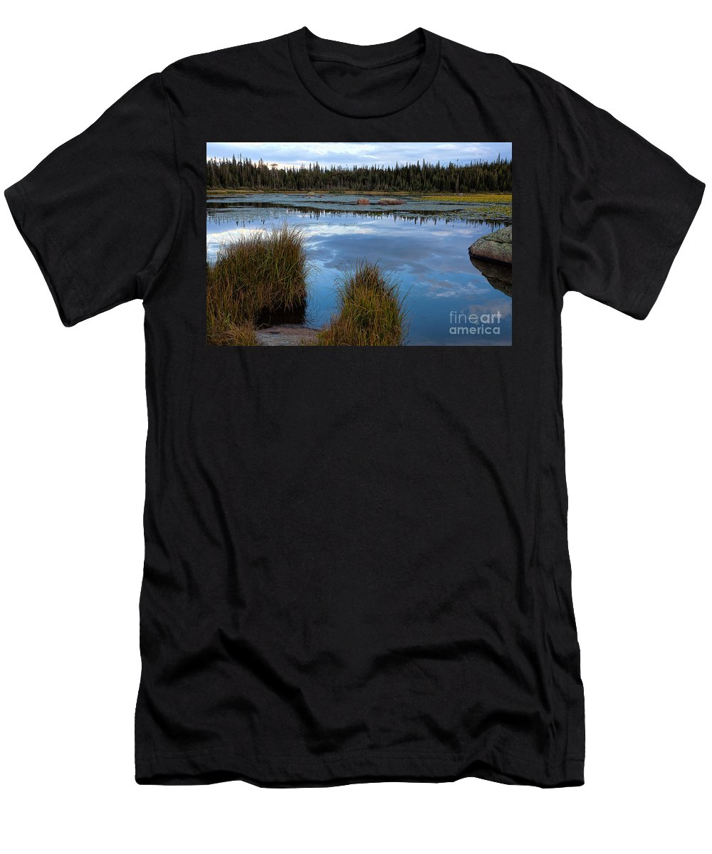 Red Rock Lake Photograph Men's T-Shirt (Athletic Fit) featuring the photograph Evening Calm by Jim Garrison