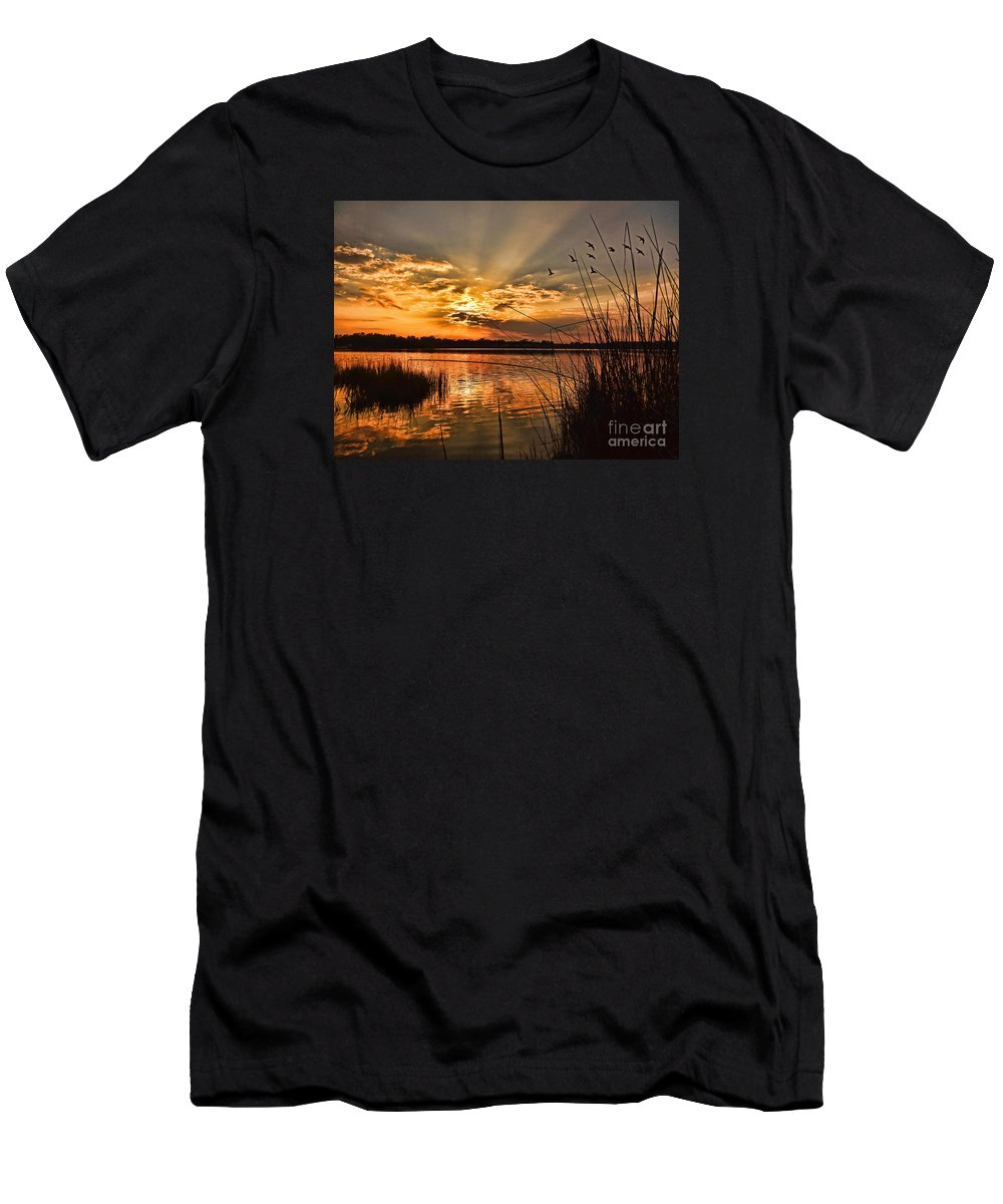 Seascape Men's T-Shirt (Athletic Fit) featuring the photograph Evening Calm by Kelley Freel-Ebner