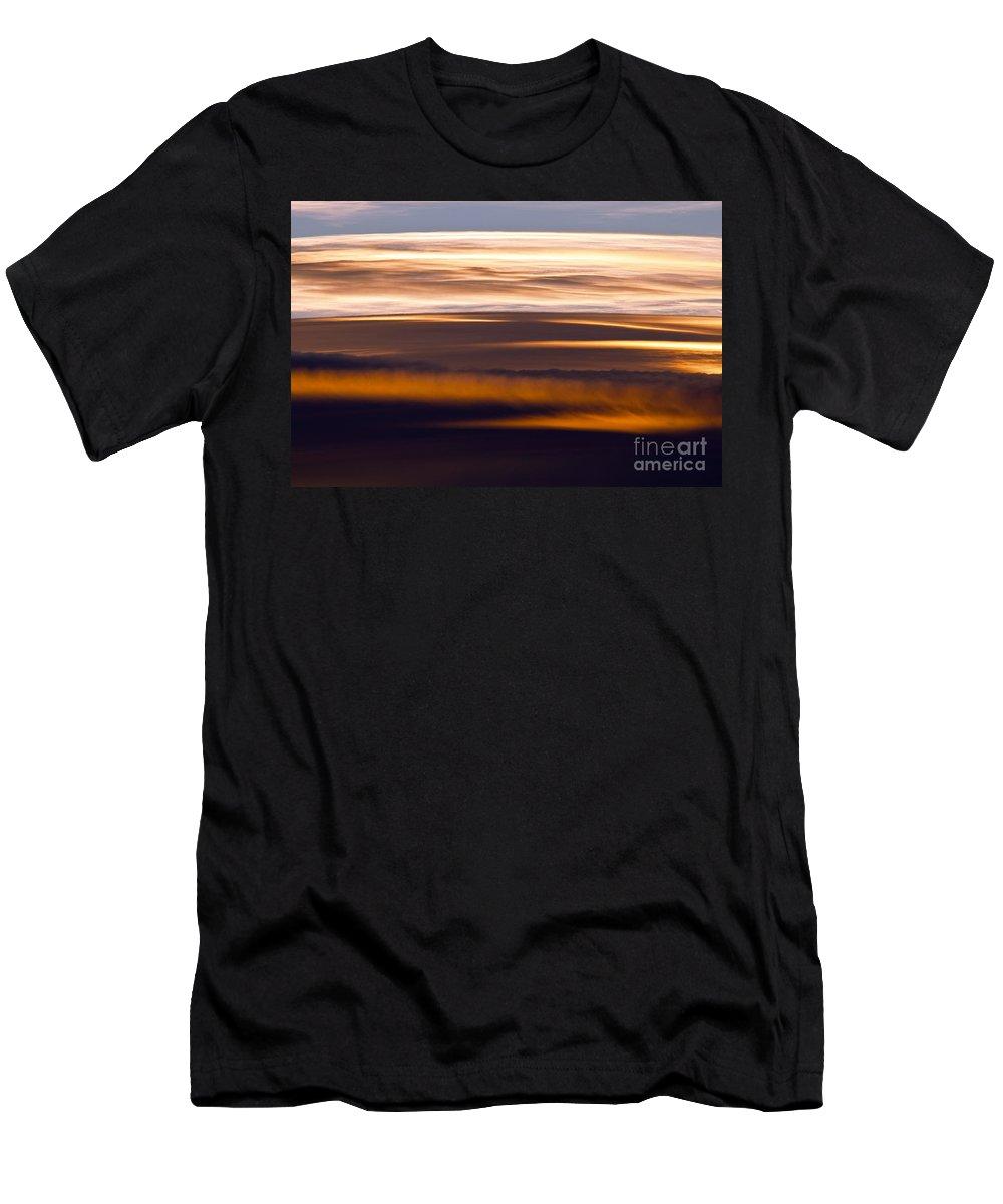 Death Valley National Park California Sunset Sunsets Cloud Color Evening Sky Golds Colors Clouds Men's T-Shirt (Athletic Fit) featuring the photograph Evening Golds by Bob Phillips