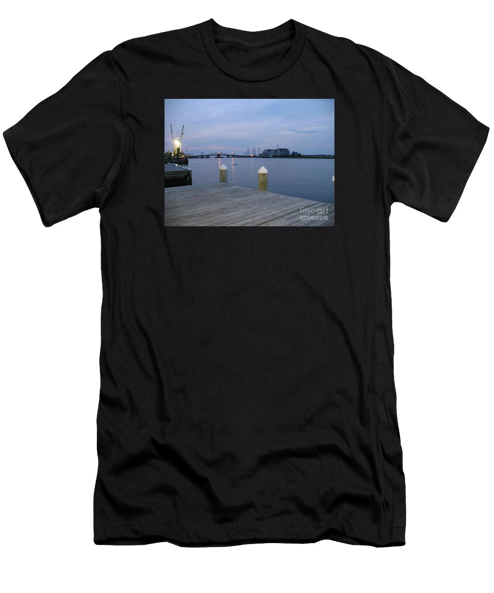 Evening Light Men's T-Shirt (Athletic Fit) featuring the photograph Evening Light At Chincoteague Sound by Christiane Schulze Art And Photography