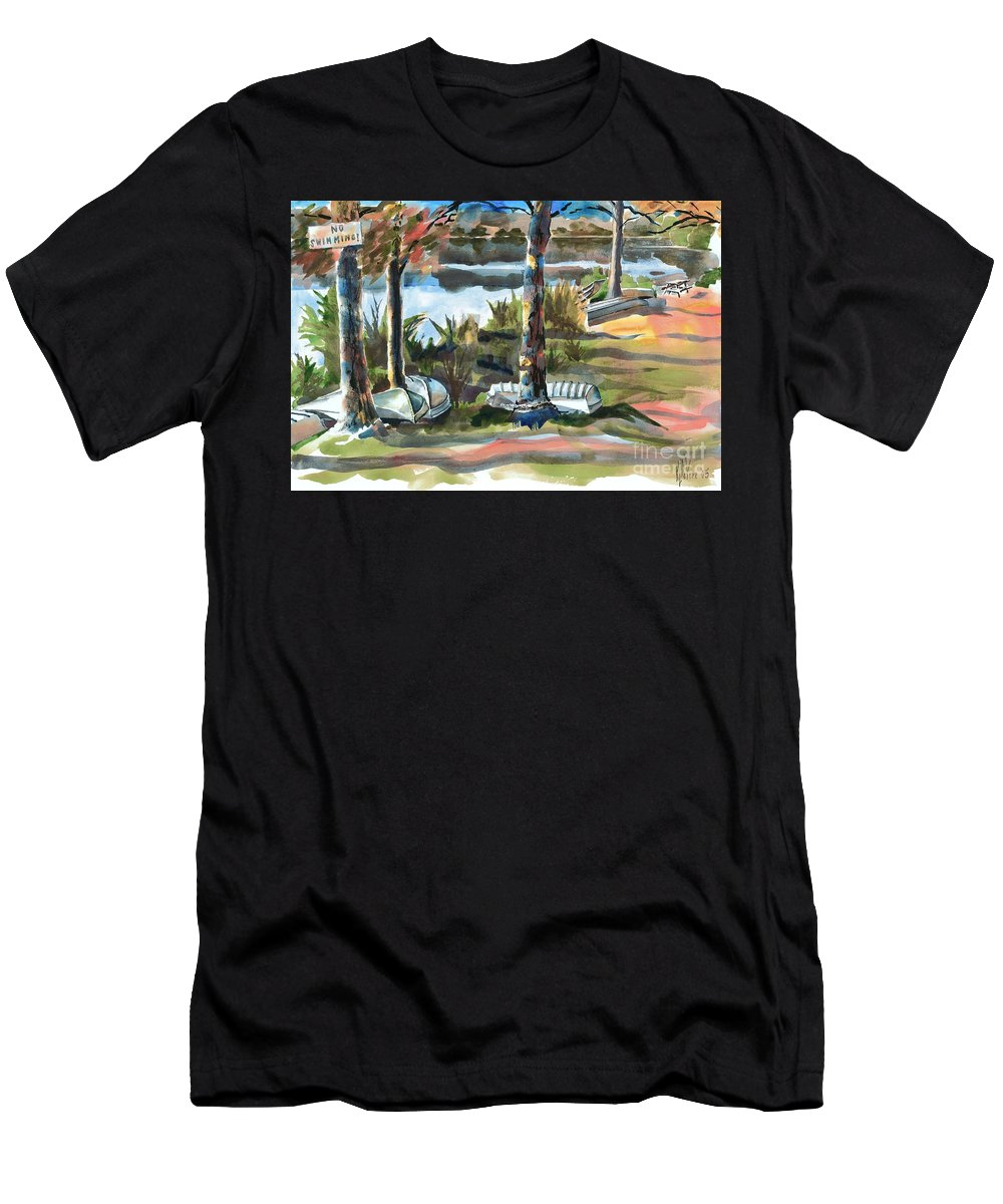 Evening Shadows At Shepherd Mountain Lake No W101 Men's T-Shirt (Athletic Fit) featuring the painting Evening Shadows At Shepherd Mountain Lake No W101 by Kip DeVore