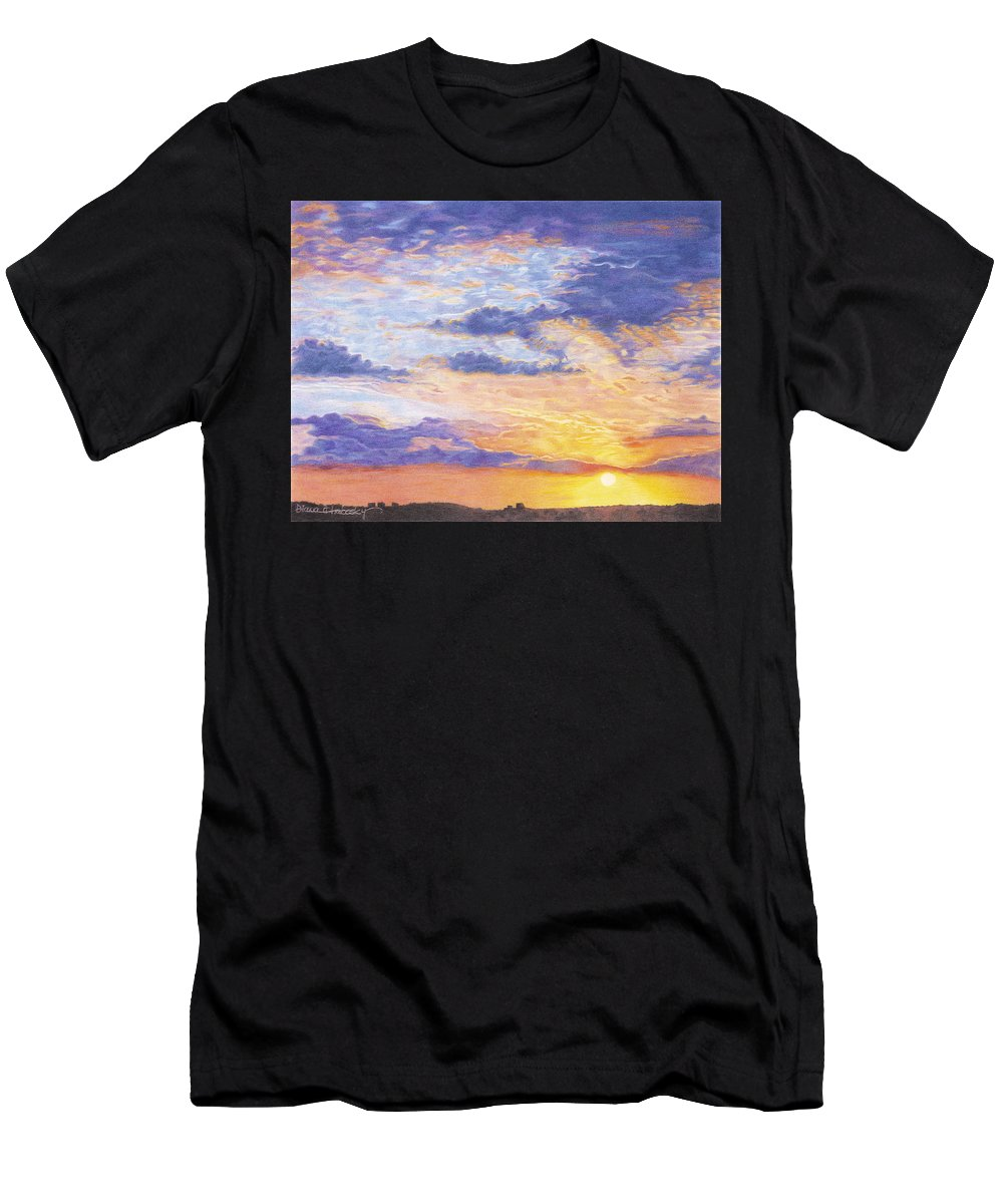 Desert Men's T-Shirt (Athletic Fit) featuring the drawing Evening Sky by Diana Hrabosky