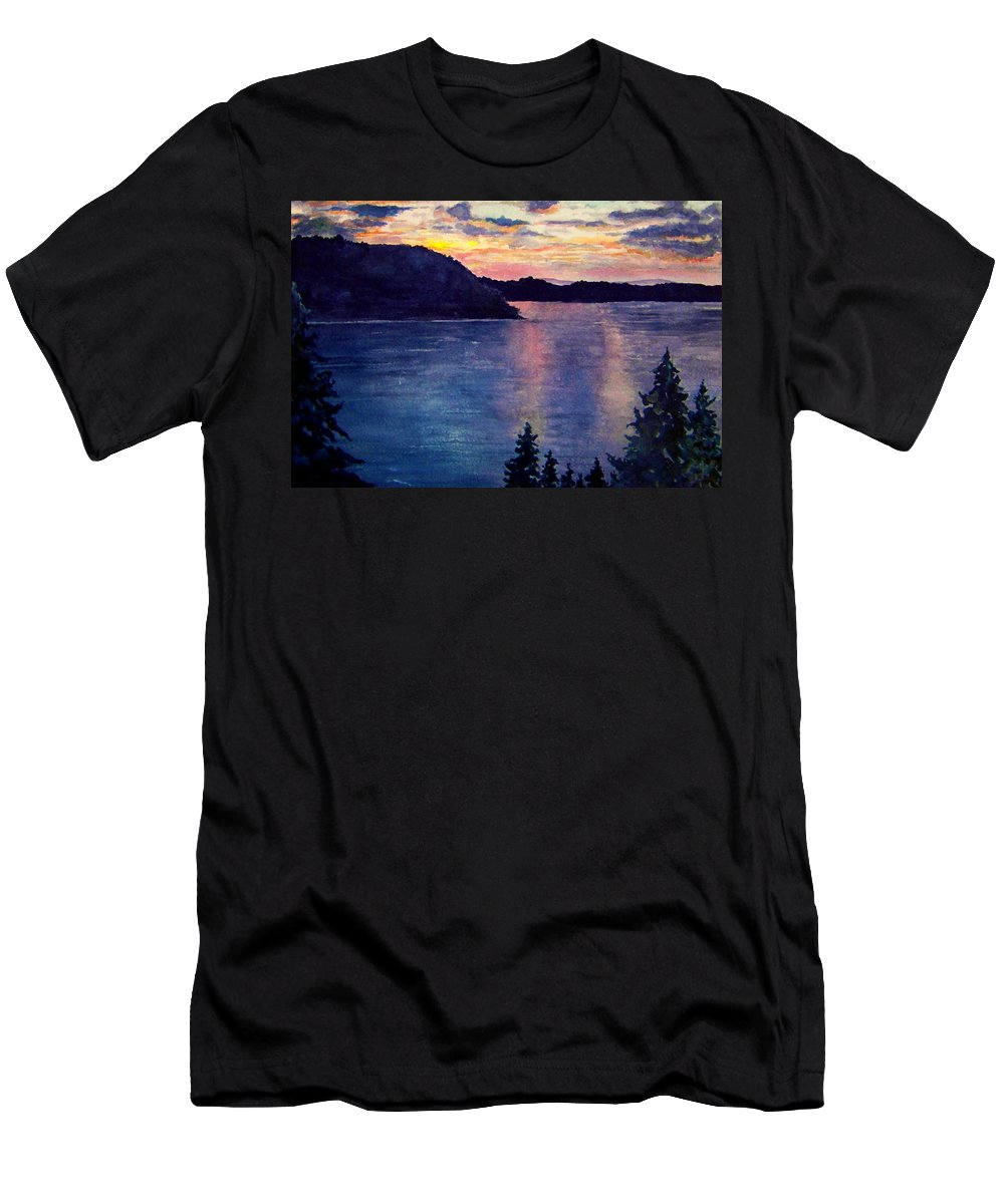 Sunset Men's T-Shirt (Athletic Fit) featuring the painting Evening Song by Brenda Owen