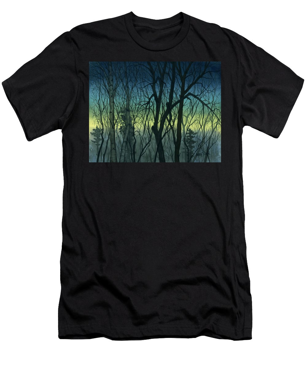 Blue Men's T-Shirt (Athletic Fit) featuring the painting Evening Stand by Mary Tuomi