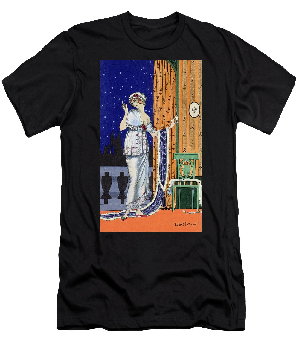 Costumes Parisiens Men's T-Shirt (Athletic Fit) featuring the painting Evening Wear From Costume Parisien by Robert Pichenot