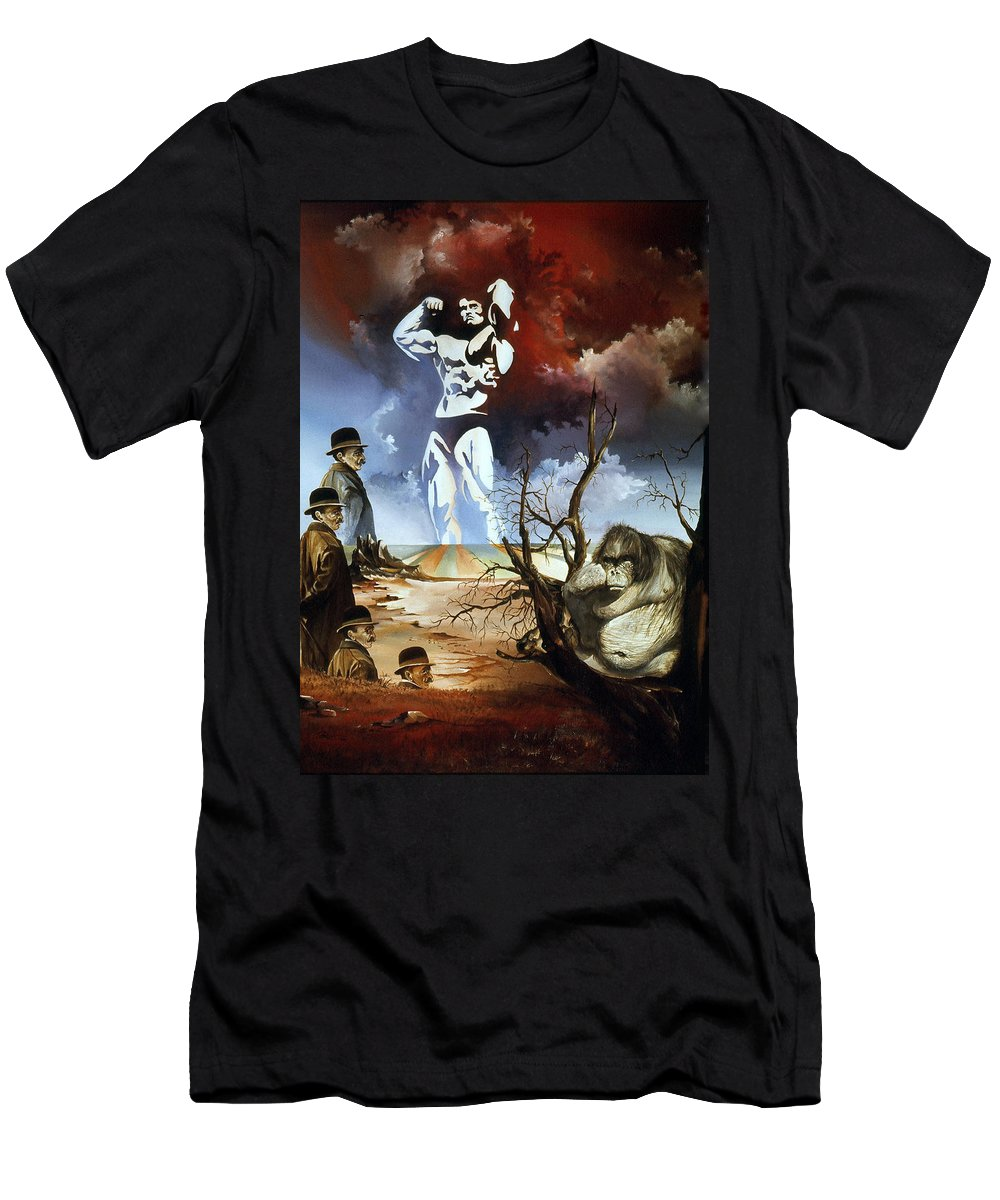Surrealism Men's T-Shirt (Athletic Fit) featuring the painting Evolution by Otto Rapp
