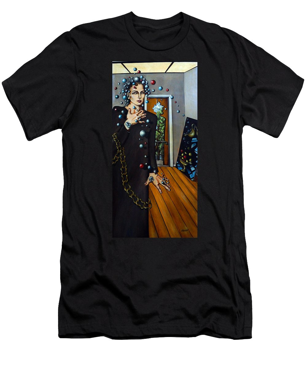 Surreal Men's T-Shirt (Athletic Fit) featuring the painting Existential Thought by Valerie Vescovi
