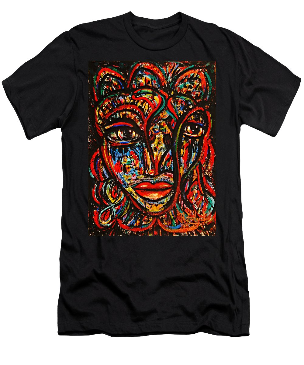 Expressionism Men's T-Shirt (Athletic Fit) featuring the painting Exotic Priestess by Natalie Holland