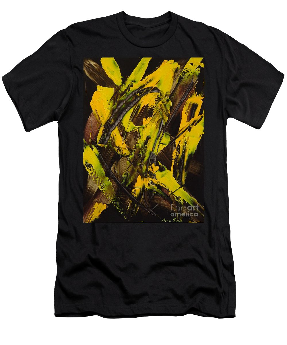 Abstract Men's T-Shirt (Athletic Fit) featuring the painting Expectations Yellow by Dean Triolo