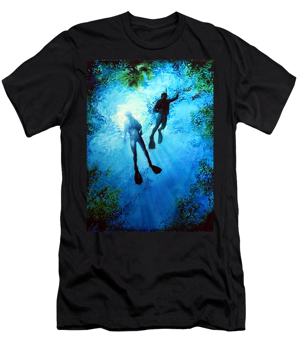 Sports Artist Men's T-Shirt (Athletic Fit) featuring the painting Exploring New Worlds by Hanne Lore Koehler