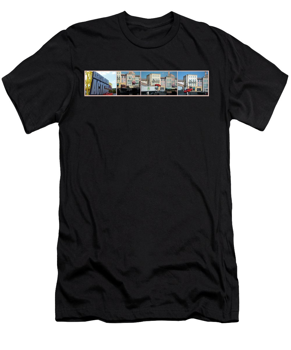 Horizontal Men's T-Shirt (Athletic Fit) featuring the photograph Extreme Stunt Show Walt Disney World 4 Panel Composite by Thomas Woolworth