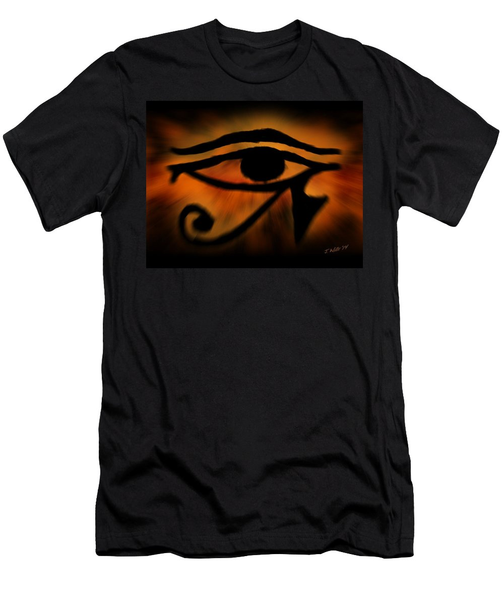 Egyptian Art Men's T-Shirt (Athletic Fit) featuring the painting Eye Of Horus Eye Of Ra by John Wills